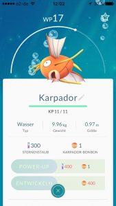 Pokemon Go Menü Karpador Entwickeln Kosten Power Up