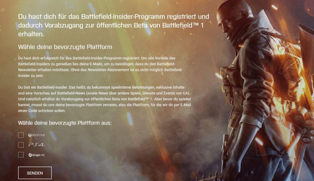 Battlefield 1 Insider Programm