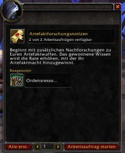WoW Legion Artefaktwissen Auftrag