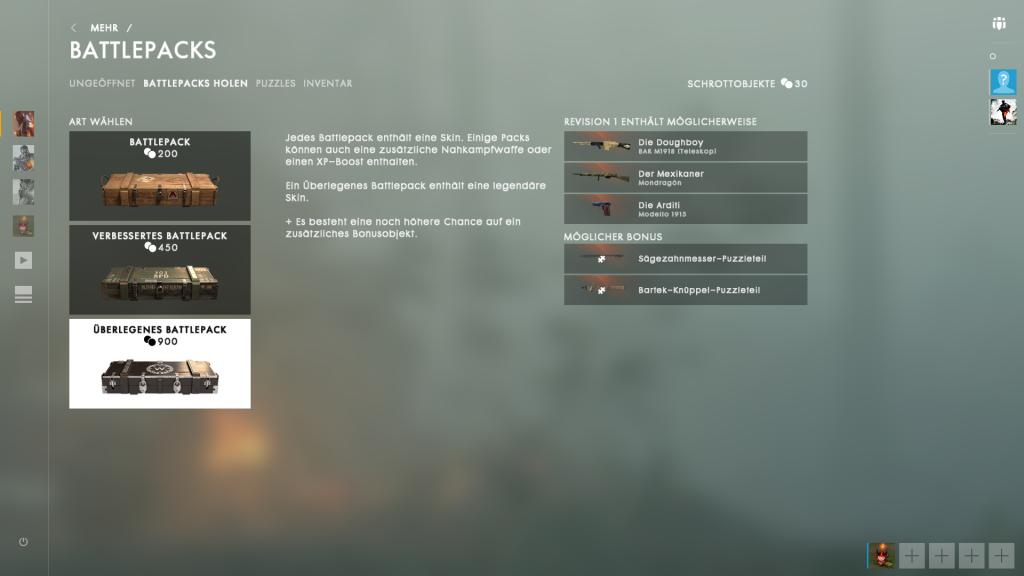 BF1 Battlepack Auswahl