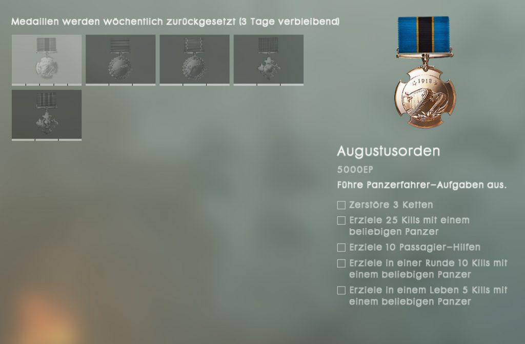 Battlefield 1 Orden Medaille Panzer Missionen