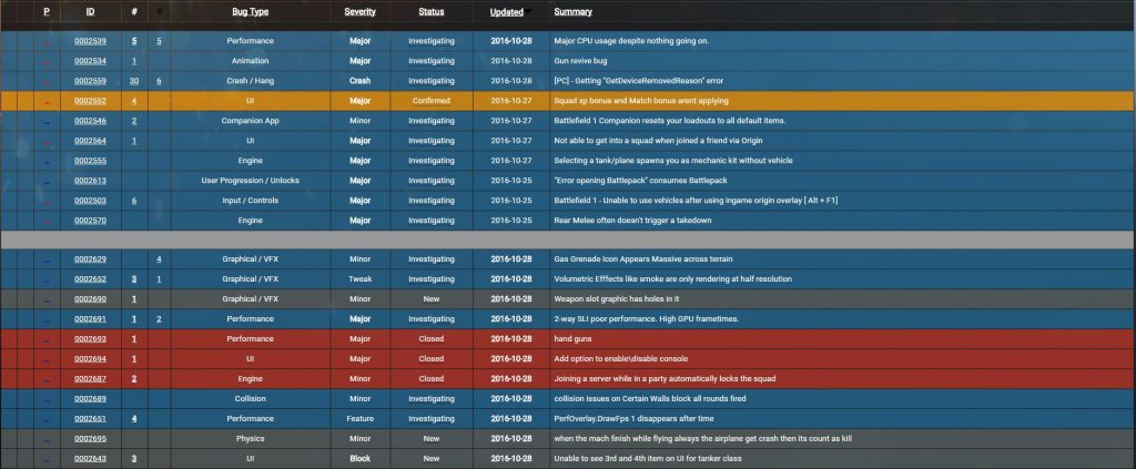 BF1 Bugs Reporten Webseite
