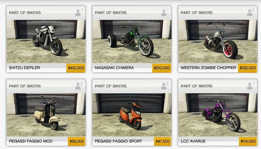 GTA 5 Motorräder Shop