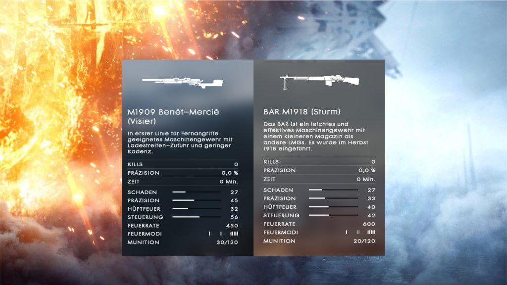 BF1 Support Waffe Vergleich