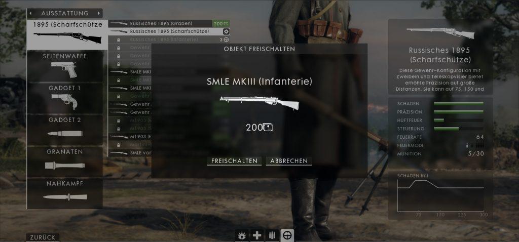 BF1 Waffe freischalten Anpassen