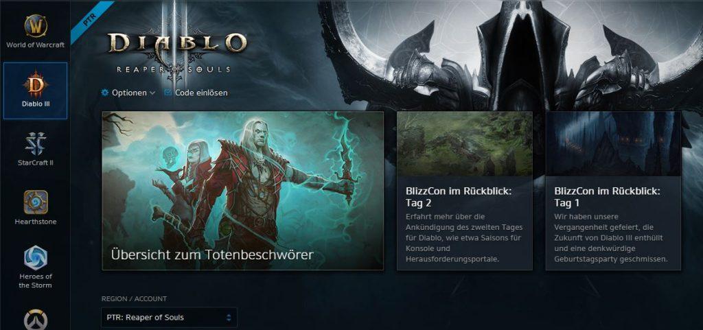 Diablo 3 Testserver Menü