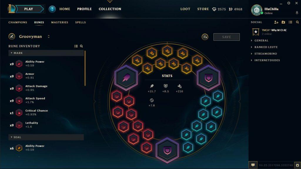 League of Legends Client Beta Runen
