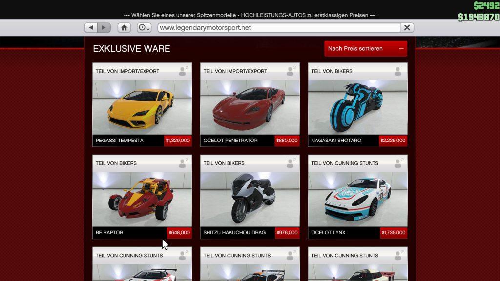 GTA 5 Online Auto Übersicht