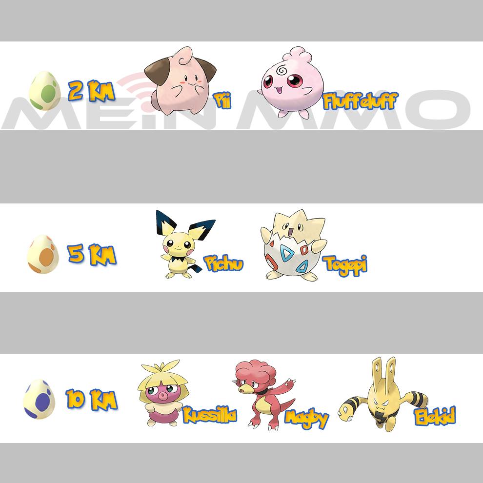 Pokémon GO Eier-Liste 2