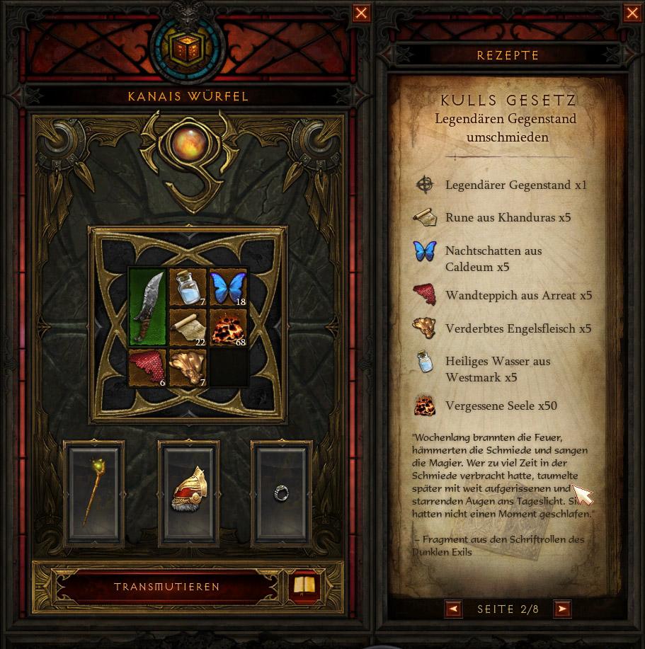 Diablo 3 Kanais Würfel umschmieden