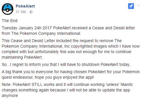 Pokémon GO Pokealert Facebook Erklärung