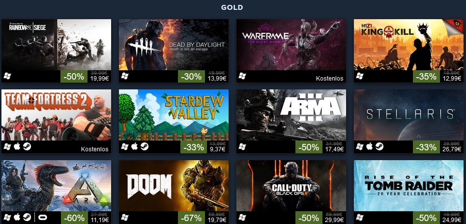 Steam Top 100 Gold