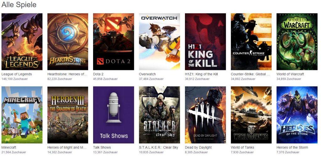 TwitchTV Spieleverzeichnis