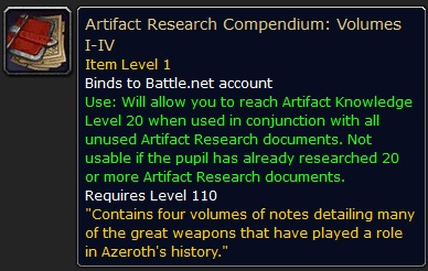 WoW Compendium Artifact Knowledge