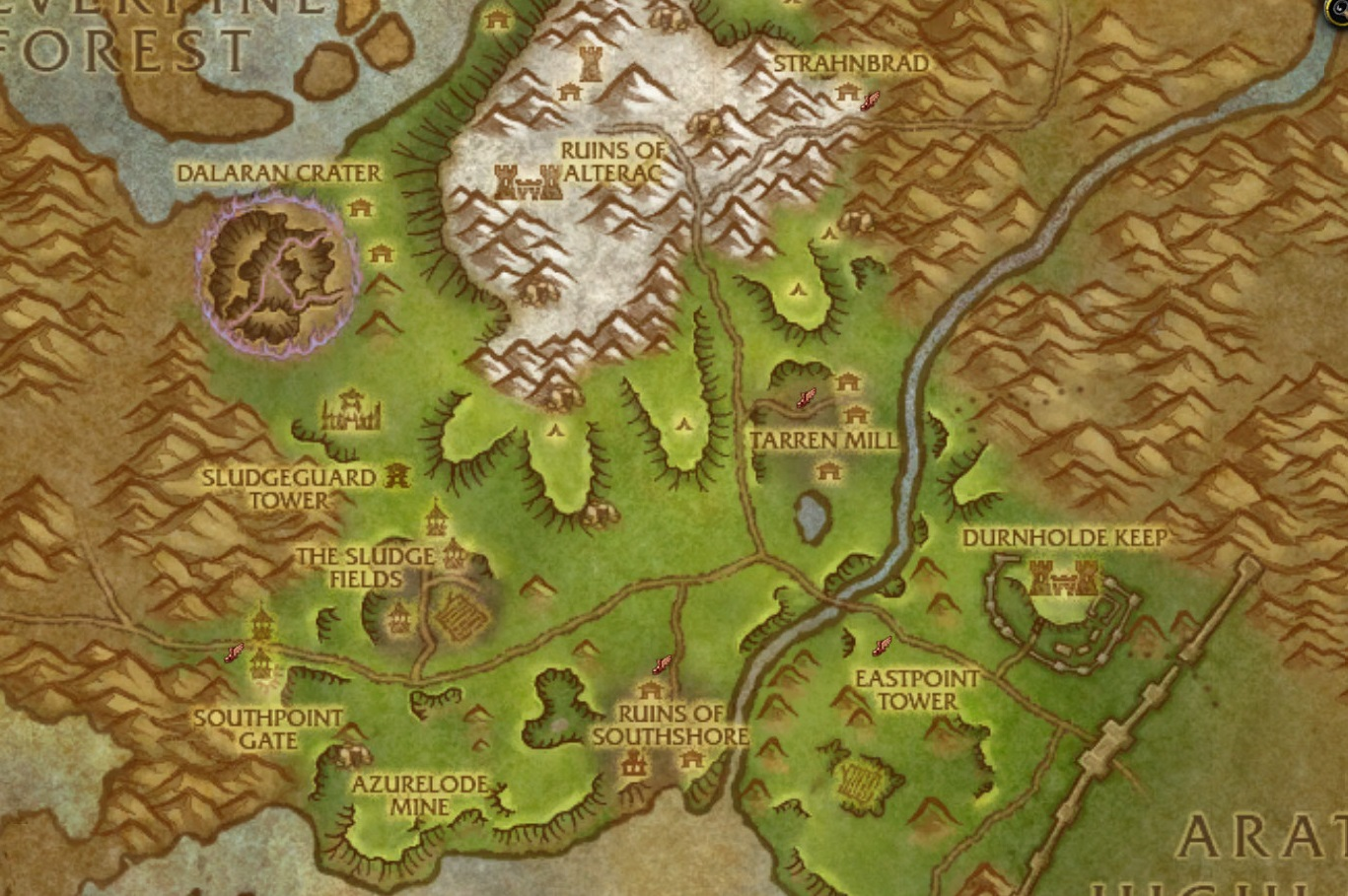 WoW Hillsbrad Map