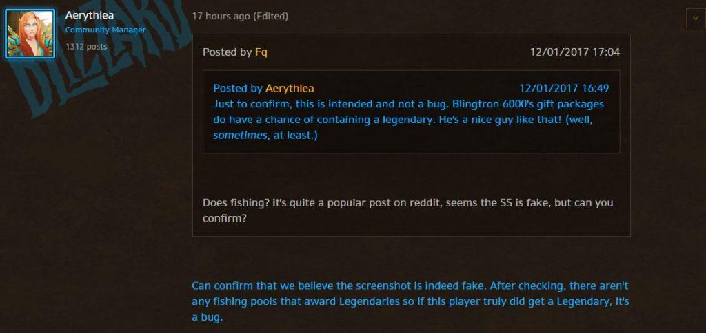 World of Warcraft Bluepost Legendär Fake