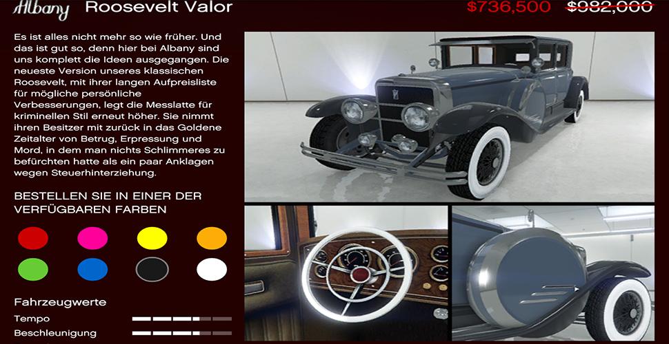GTA 5 Online Albany Roosvelt Valor Angebot