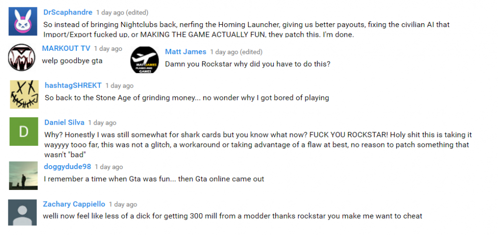 GTA 5 Online Youtube Kommentare Glitch