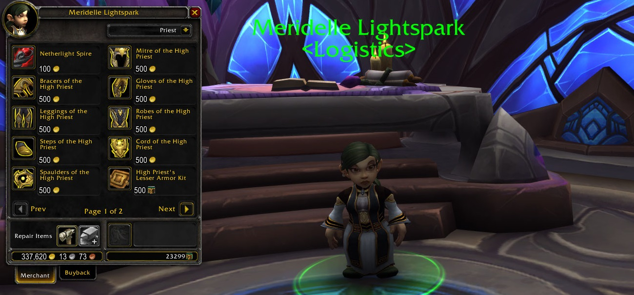WoW Priest Order Hall Set Trader