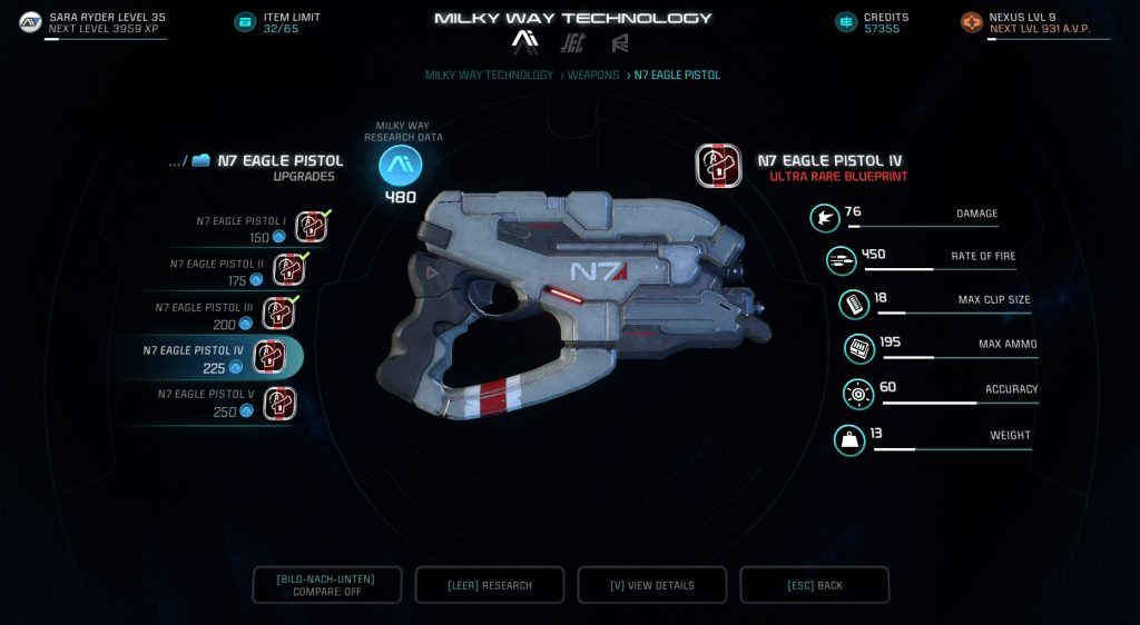 Mass Effect Andromeda Crafting N7 Eagle