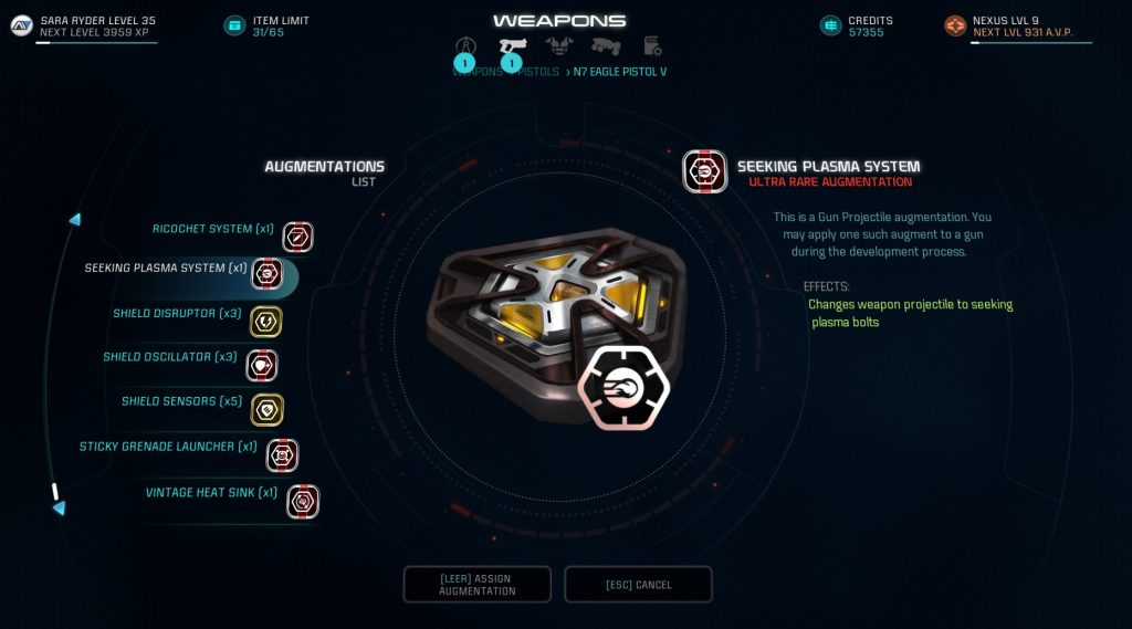 Mass Effect Andromeda Crafting N7 Eagle Augmentations