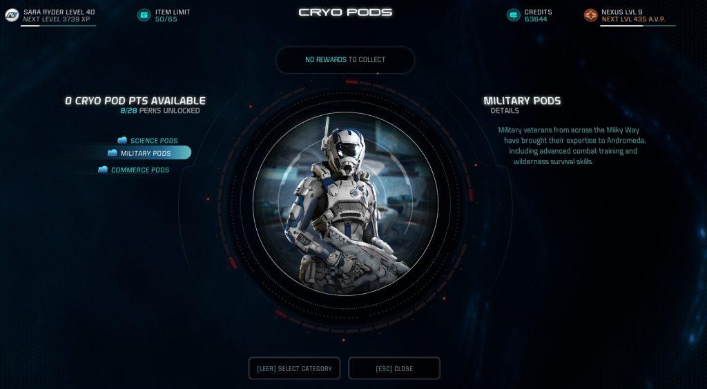 Mass Effect Andromeda Cryopods