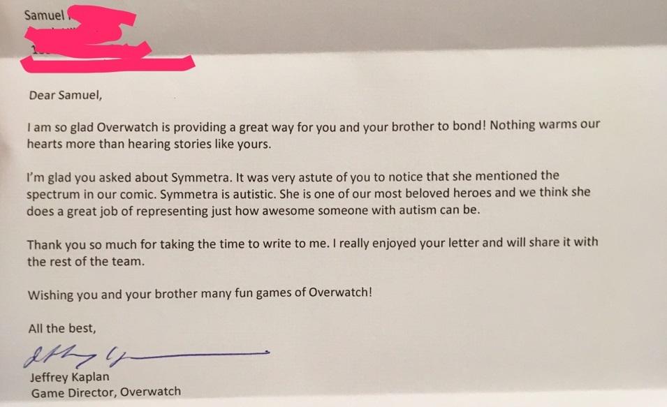 Overwatch Kaplan Letter Symmetra Autism