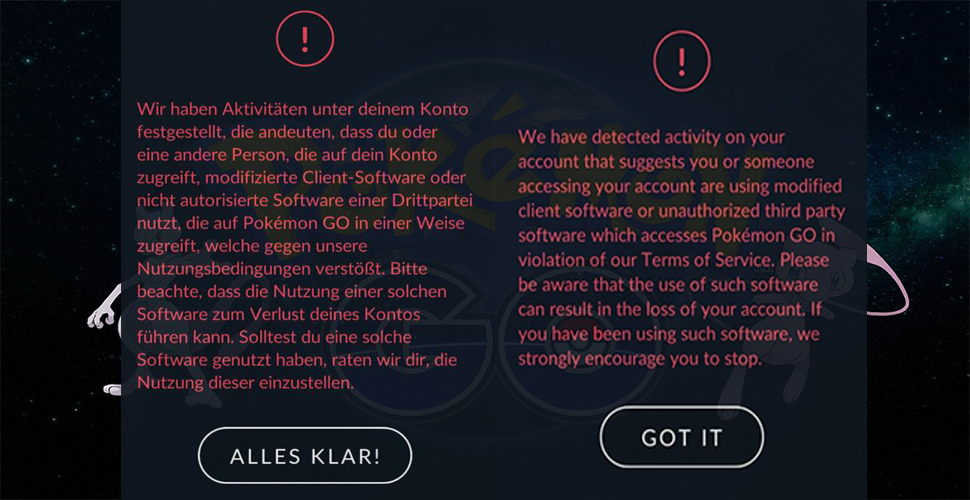 Pokémon GO Cheater Warnung