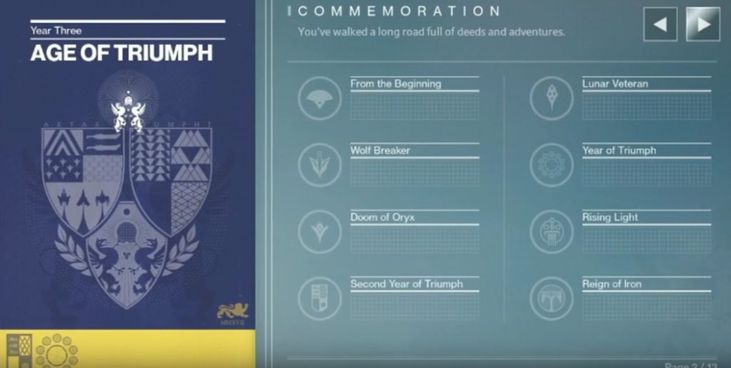 destiny commemoration
