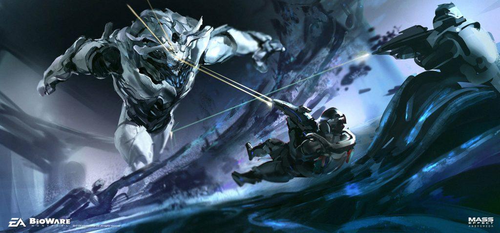 Mass Effect Andromeda Artwork Combat Monster