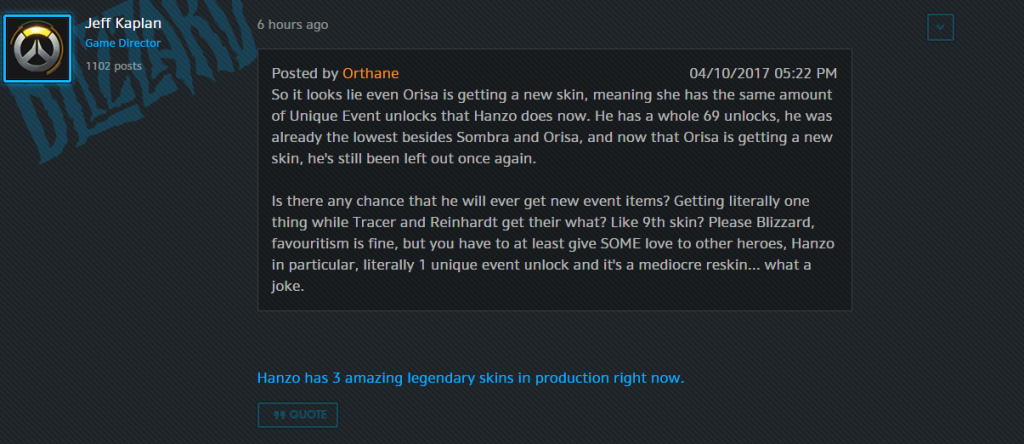 Overwatch Hanzo Legendär Skins