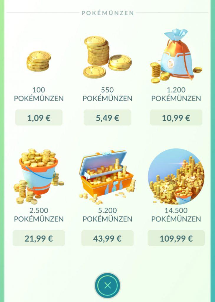 Pokémon GO Shop Preise klein