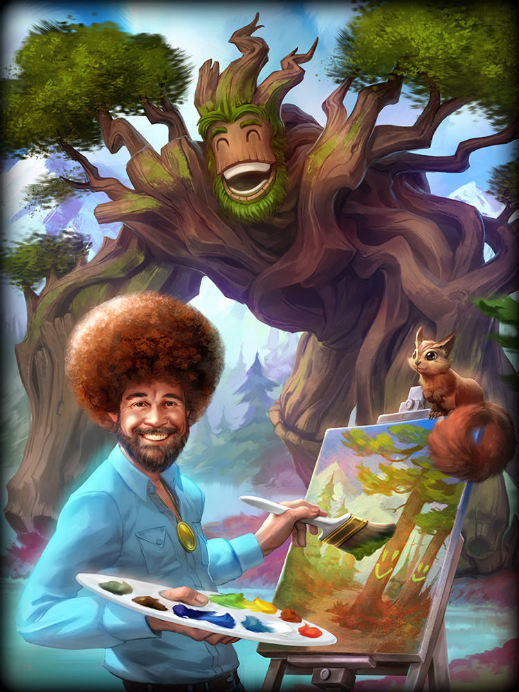 SMITE Bob Ross Sylvanus God Card