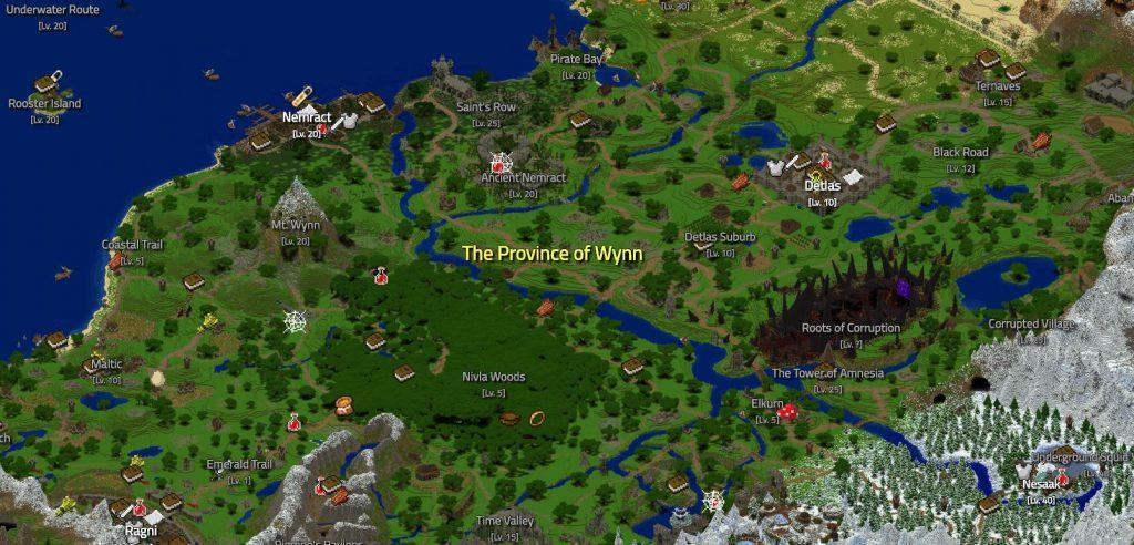 Wynncraft Map Übersicht