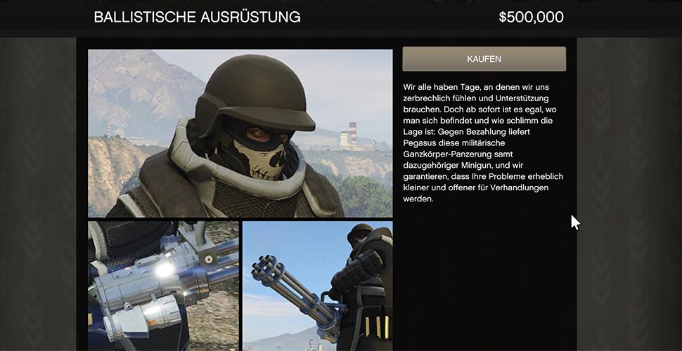 GTA 5 Online Ballistische Rüstung Gunrunning
