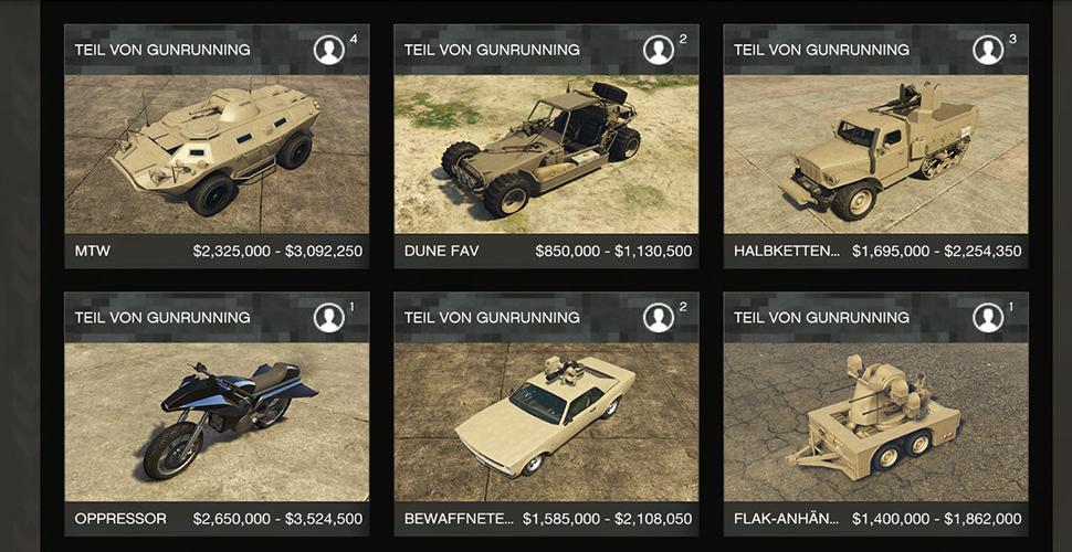 GTA 5 Online Fahrzeuge Gunrunning
