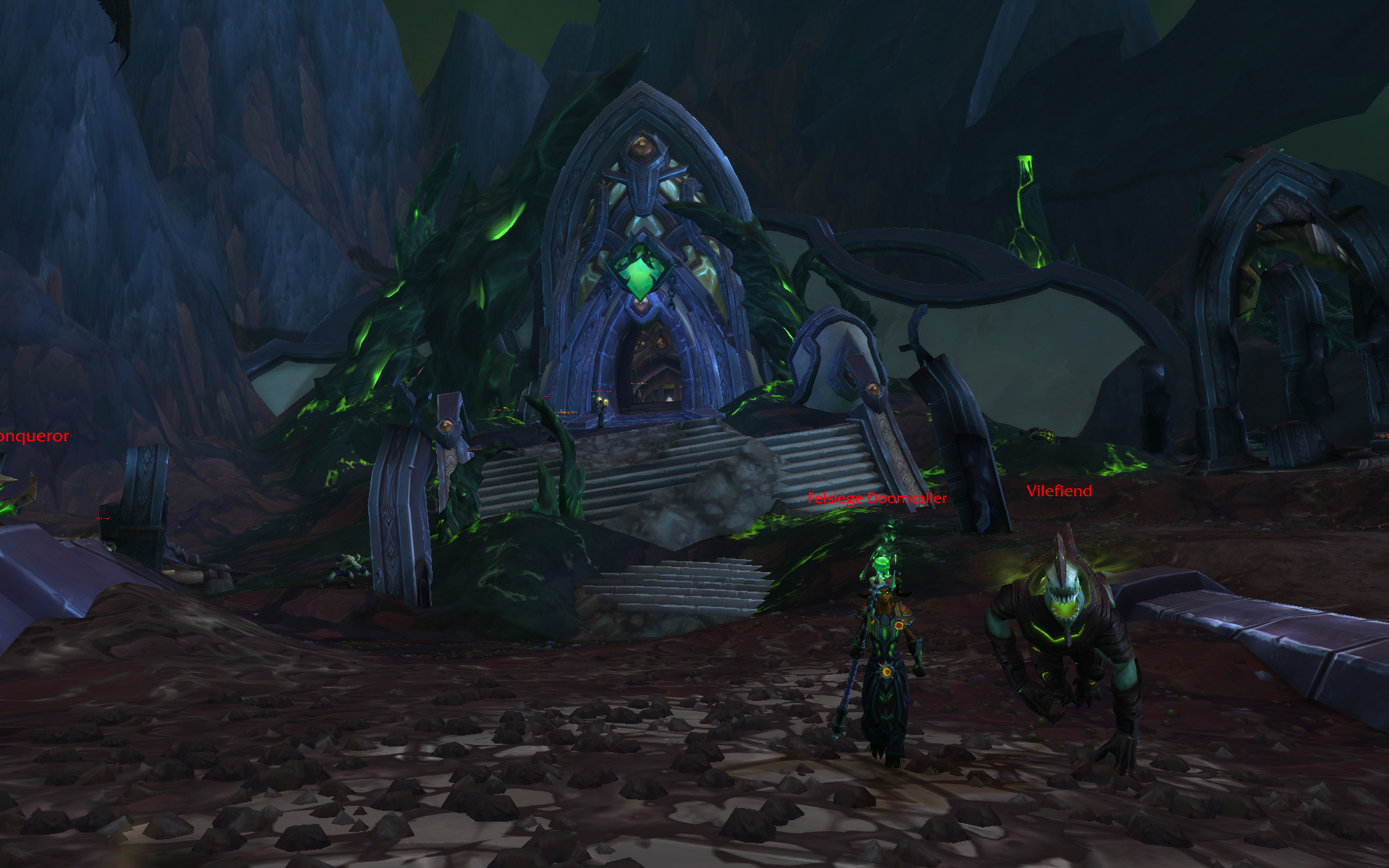 WoW Argus Planet Surface Eredar and Pet