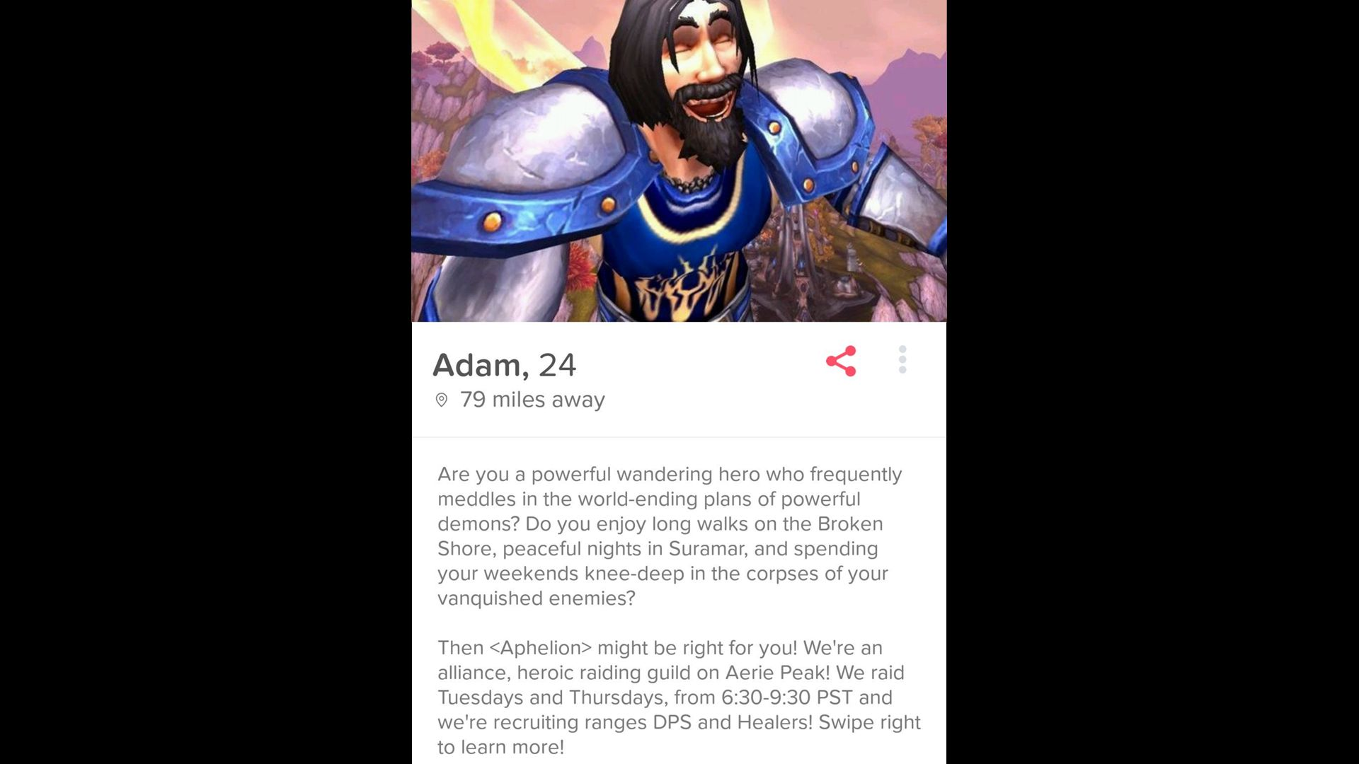 WoW Tinder Adam