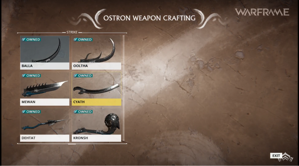 Crafting Warframe