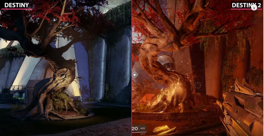 Destiny Vergleich Brennender Baum Turm
