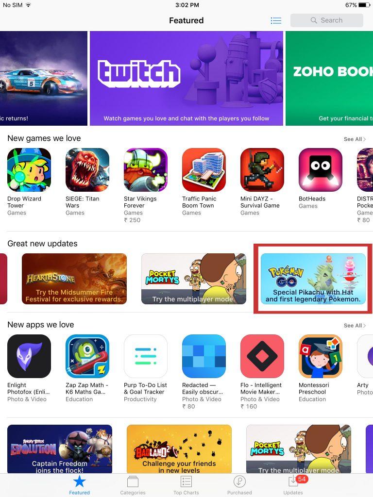 Pokémon GO AppStore Indien