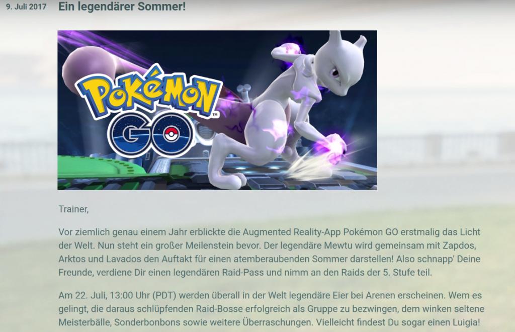 Pokémon GO Spieletrend