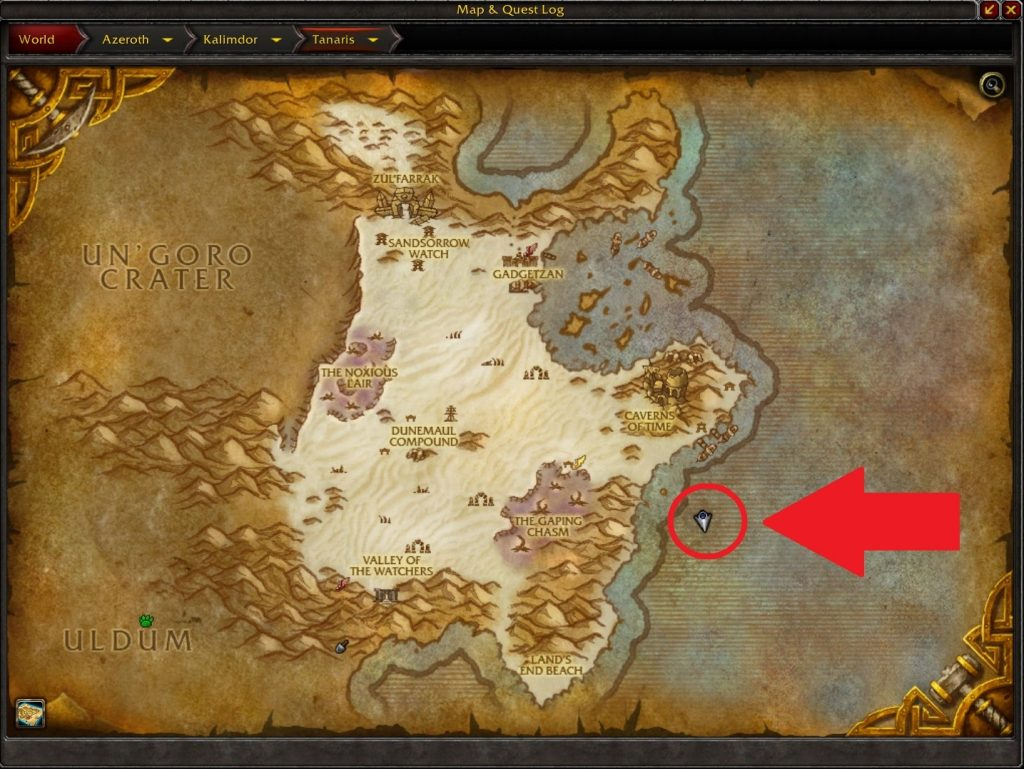 WoW Seltsame Orte Tanaris Gnome Map arrow