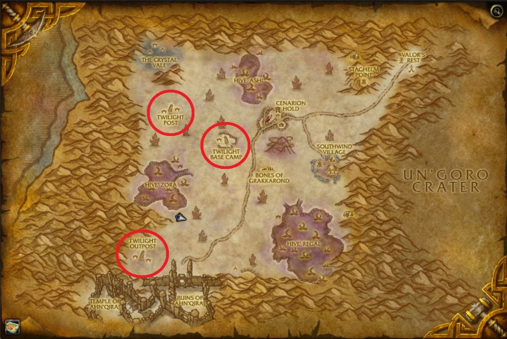WoW Silithus Twilight Camps Map