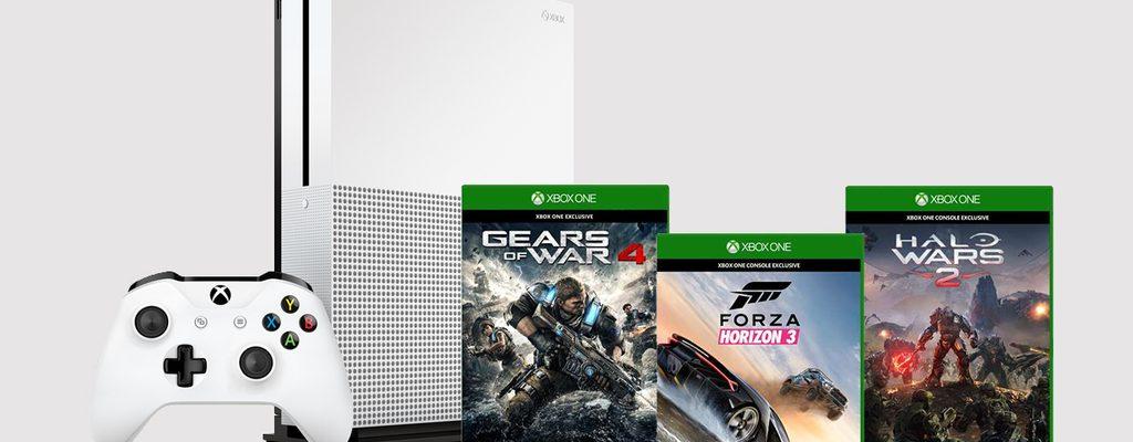 Angebote bei Microsoft: Xbox One S mit Forza Horizon 3, Halo Wars 2 und Gears of War 4
