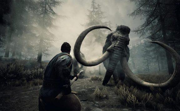 Ein Barbar kämpft im eisigen Norden gegen ein Mammut