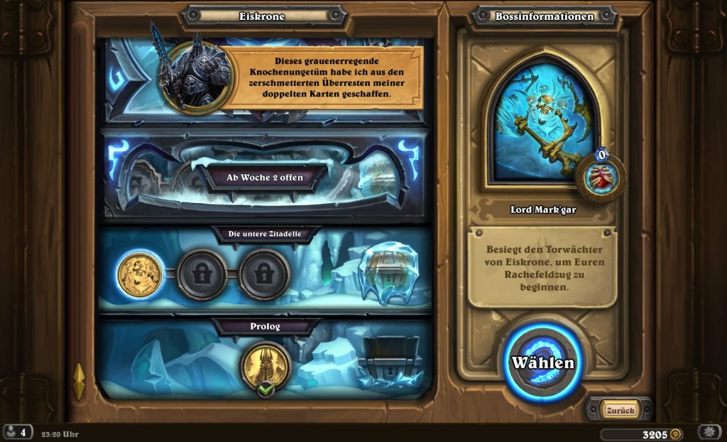 Hearthstone Frozen Throne Menu