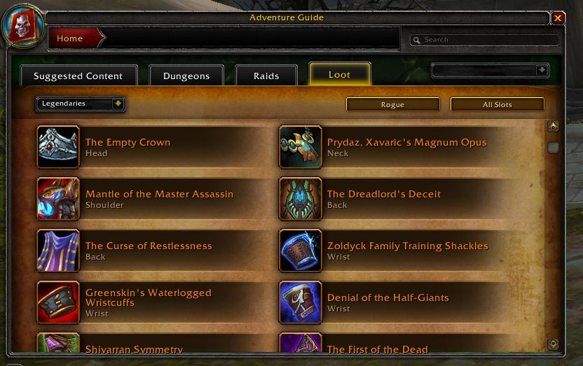 World of Warcraft Legendary Guide Legendary Übersicht