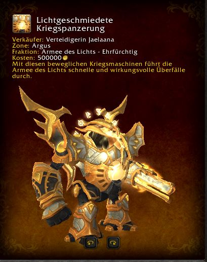 World of Warcraft PTR Patch 7 3 Lightforged Warframe Mount