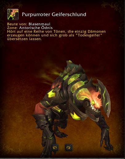 World of Warcraft PTR Patch 7 3 Purpurroter Geiferschlund Mount